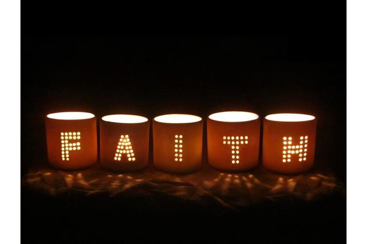 Punched Letter F-A-I-T-H Candle Holder/Storage Container/Votive Home Decor White