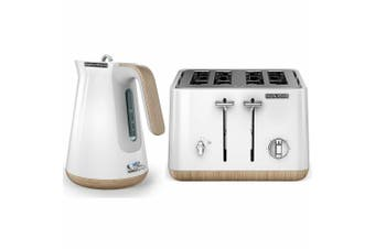 Morphy Richards Scandi White/Wood Trim Base 4 Slice Toaster w/ Cordless Kettle