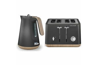 Morphy Richards Scandi Titanium/Wood Trim Base 4 Slice Toaster w/Cordless Kettle