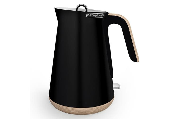 Morphy Richards 100007 Scandi Black Aspect Kettle/Boiler/Jug w/ Wooden Trim