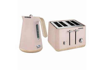 Morphy Richards Scandi Dusty Pink/Wood Trim Base 4 Slice Toaster Cordless Kettle