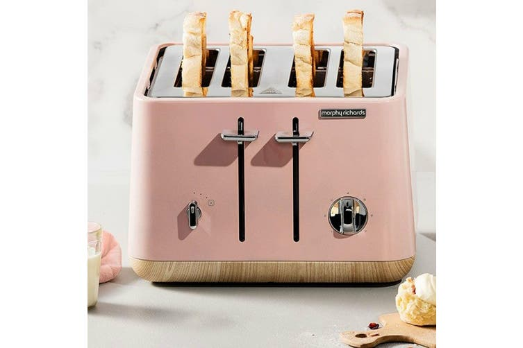 Morphy Richards Scandi Dusty Pink/Wood Trim Base 4 Slice Toaster Cordless Kettle