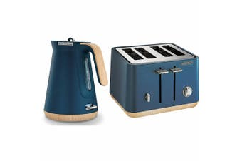 Morphy Richards Scandi Deep Blue/Wood Trim Base 4 Slice Toaster Cordless Kettle