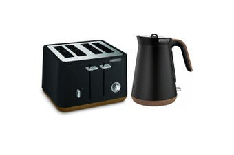 2pc Morphy Richards Aspect Electric 1.5L Cordless Kettle/4 Slice Toaster Black
