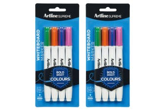 2x 4pc Artline Supreme Whiteboard Markers Water Based Pen Assorted Bright Colour