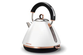 Morphy Richards 1.5L White Accents Traditional Pyramid Kettle/Jug Rose Gold
