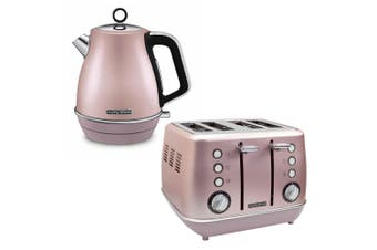 2pc Morphy Richards Evoke Kitchen 1.5L Jug Kettle/4 Slice Toaster Rose Quartz