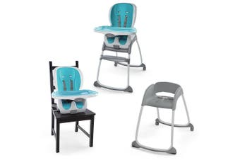 Ingenuity SmartClean Trio 3-In-1 High/Smart Chair/Booster/Seat Baby/Toddler Aqua