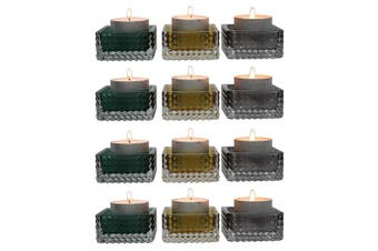4x 3pc Glass Aura Tealight Candle Decorative Holder 5.5x2.5cm Home Decor Assort