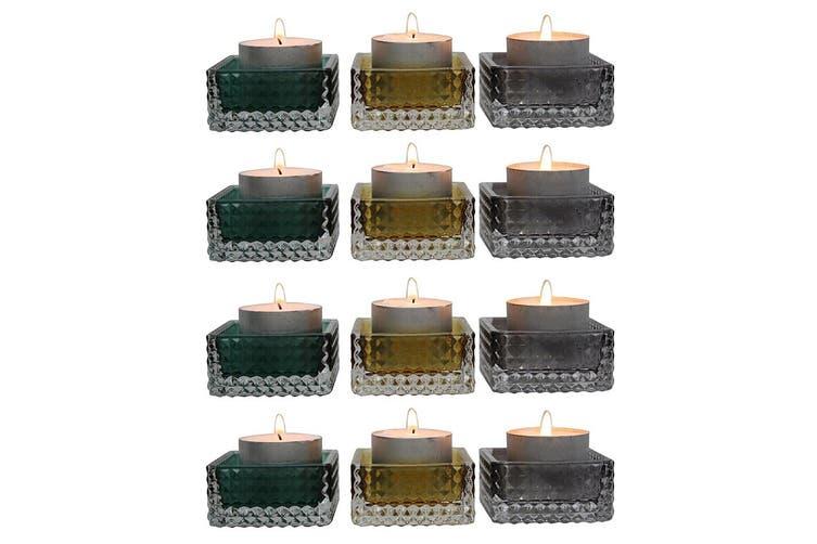 4x 3pc Glass Aura Tealight Candle Decorative Holder 5.5x2.5cm Home Decor Assort
