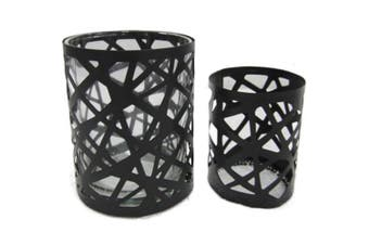 2pc Nested Contemporary Metal/Glass Tealight Candle Holders/Storage Decor Black