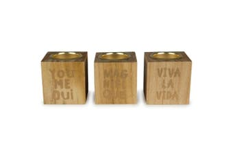 3pc Luxe/Wood Block 6.5cm Tealight Candle Holders/Storage Home Decor Natural/GD