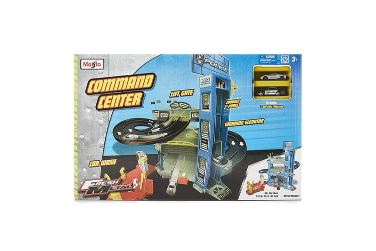 Maisto Fresh Metal Command Center Police Station Kids Car Track Playset Car 3y+