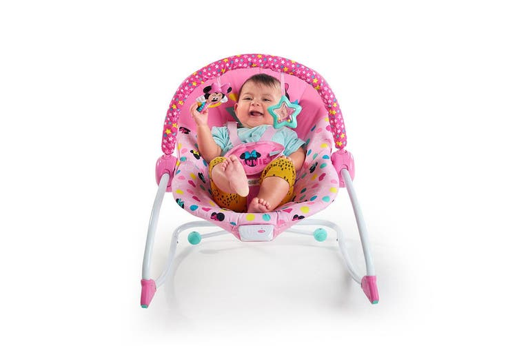 Bright Starts Minnie Mouse Infant To Toddler Rocker/Bouncer/Seat w/Music/Toy 0M+