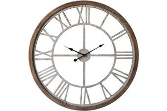 XXL Hamptons 93cm Wood Analogue Wall Clock w/ Crackle Finish Home Decor Brown