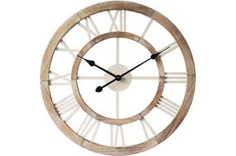 XL Hamptons Double-Frame Floating Wall Hanging Clock w/ Roman Numerals Decor BR