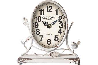 Antique Country 12-Hour Analogue Metal Table/Desk Clock 22.5cm Home Decor White