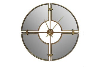 XL Aura Mirrored 70cm Wall Hanging Clock w/ Glass Front Home Decor Gold/Silver