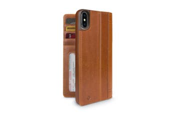 Twelve South iPhone Xs Max Journal Cover/Wallet/Stand Leather Folio Case Cognac