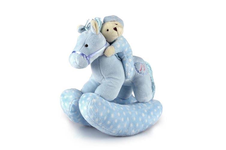 Korimco 23cm Kids/Children Twinkles Riding Horse Soft Animal Toy w/Music Blue
