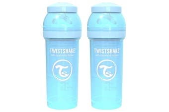 2PK Twistshake 260ml Anti-Colic Feeding Bottle w/ Silicone Teat Baby 0-6m Blue