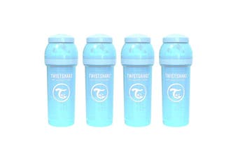 4PK Twistshake 260ml Anti-Colic Feeding Bottle w/ Silicone Teat Baby 0-6m Blue