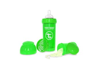 Twistshake 260ml Anti-Colic Plastic Feeding Bottle w/Silicone Teat Baby 0-6m GRN