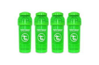 4PK Twistshake 260ml Anti-Colic Feeding Bottle w/ Silicone Teat Baby 0-6m Green