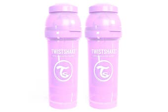2PK Twistshake 260ml Anti-Colic Feeding Bottle w/ Silicone Teat Baby 0-6m Purple