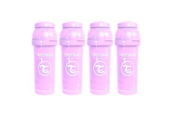 4PK Twistshake 260ml Anti-Colic Feeding Bottle w/ Silicone Teat Baby 0-6m Purple