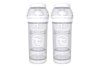 2PK Twistshake 260ml Anti-Colic Feeding Bottle w/ Silicone Teat Baby 0-6m White