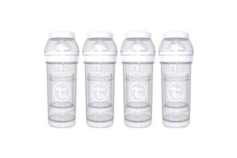 4PK Twistshake 260ml Anti-Colic Feeding Bottle w/ Silicone Teat Baby 0-6m White