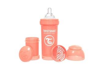 Twistshake 260ml Anti-Colic Feeding Bottle w/ Silicone Teat Baby 0-6m Peach