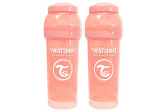 2PK Twistshake 260ml Anti-Colic Feeding Bottle w/ Silicone Teat Baby 0-6m Peach