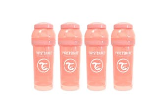 4PK Twistshake 260ml Anti-Colic Feeding Bottle w/ Silicone Teat Baby 0-6m Peach
