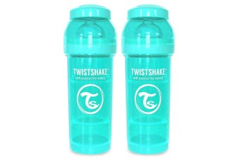 2PK Twistshake 260ml Anti-Colic Feeding Bottle Silicone Teat Baby 0-6m Turquoise
