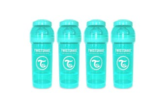 4PK Twistshake 260ml Anti-Colic Feeding Bottle Silicone Teat Baby 0-6m Turquoise