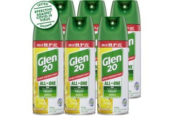 6PK Glen 20 Disinfectant Spray 300g Kills 99.9% of Germs Citrus Breeze