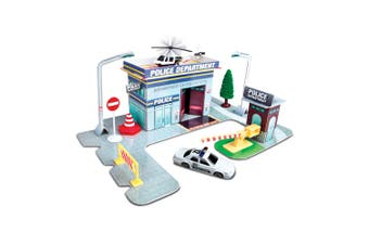 Maisto Fresh Build N Play Police Station Kids Pretend Playset w/ Model Car 3y+