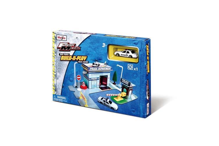Maisto Fresh Build N Play Police Station Kids Pretend Playset w/ Model Car 3y+