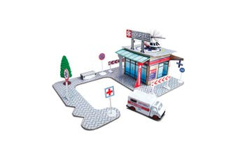 Maisto Fresh Build N Play Hospital Kids Pretend Playset w/ Model Ambulance 3y+