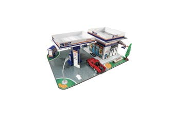 Maisto Fresh Build N Play Gas Station Kids Toy Pretend Playset w/ Model Ute 3y+