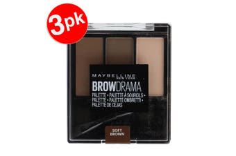 3x Maybelline 3.4g Brow Drama Palette Eyebrow Sculpt/Fill/Highlighter Soft Brown