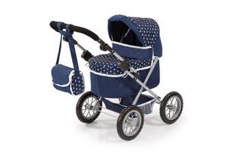 Bayer 67cm Trendy Doll Pram/Stroller Blue Hearts 3y+ Kids Pretend Parent Toy