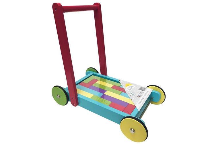 Hello Sunshine Wood Walker Wagon w/ 17pc Building Blocks Toy/Game Infant/Kids
