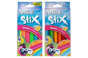 6pc Artline Stix Neon Brush Markers & 6pc Colour Brush Markers Combo Set