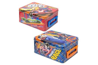 Hot Wheels Kids Assorted 18pc Slots Tin Storage Carry Case for Hot Wheels Cars