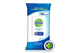 120PK Dettol Disinfectant Antibacterial Surface Cleaning Wet Wipes Multi Purpose