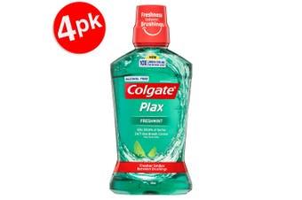 4x Colgate 500ml Plax Freshmint Mouthwash Alcohol Free Mouth Wash Oral Care