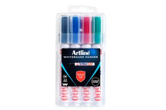 4pc Artline Asst 500 Whiteboard Bullet Markers Writing Pens Standard Colours